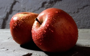 wet, food, apples