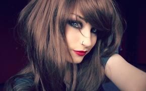 брюнетка, девушка, длинные волосы, лицо