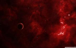 космический арт, планета, красный