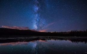 озеро, Млечный Путь, звезды