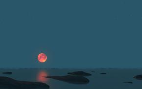 3D, stones, sea, sky, moon