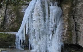 nature, stones, winter, waterfall, water