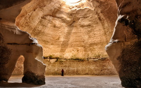 men, rays, cave, rocks, nature