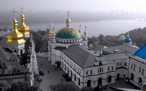город, храм, Киево Печерская Лавра, киев, купола, фон