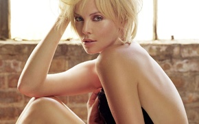 green eyes, juicy lips, blonde, Charlize Theron, girl, actress