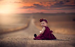 дорога, дети, девочка, платье