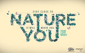 nature, quote, leaves, butterfly, typography