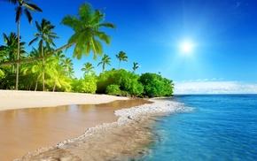 красивые, пляж, тропики, paradise, природа, sky