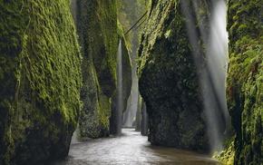 rocks, stunner, Sun, greenery, river