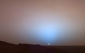 сонце, марс, Закат на марсе, красиво, закат, космос