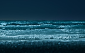 waves, beach, bokeh, sea