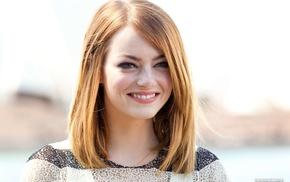 girl, green eyes, smiling, blonde, Emma Stone