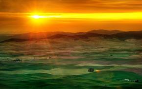 sunset, sky, mountain, stunner, greenery