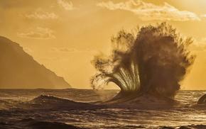 скалы, природа, волна, США, океан, Гавайи