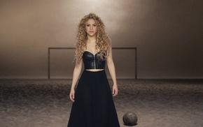 sand, music, Shakira, corset, soccer