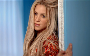 lips, blonde, Shakira, long hair, music