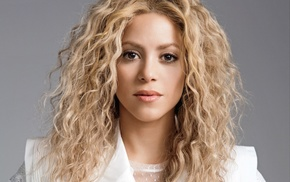 Shakira, blonde, long hair, music, lips