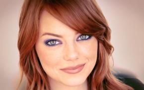 green eyes, girl, redhead, Emma Stone