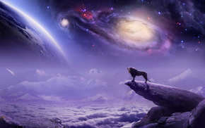 stars, space, planets, painting, fantasy, 3D, art, lion