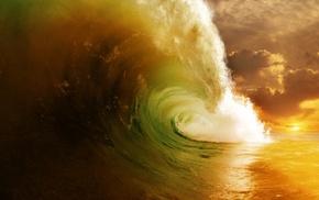nature, ocean, wave, clouds, Sun