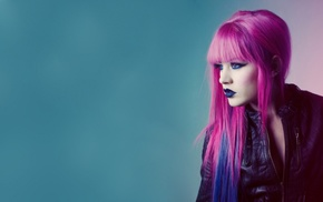 blue eyes, girl, pink hair, blue hair, blue