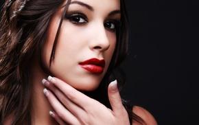 dark eyes, brunette, lipstick, smooth skin, red lipstick, girl