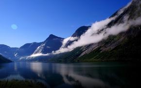 sky, mountain, nature, river