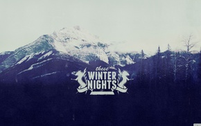 winter, typography, mountain