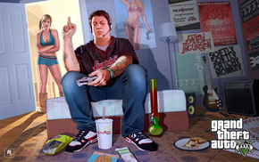 girlie, Grand Theft Auto V, room, video games, boy