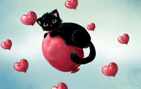 cat, hearts, black cats, balloons