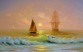 ship, waves, painting, sea, boat