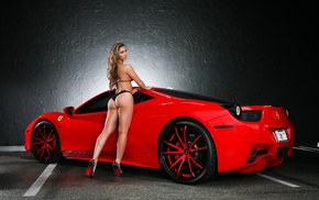 red, girl, legs, sportcar, Ferrari