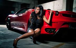 автомобили, машина, брюнетка, тачка, девушка, Ferrari