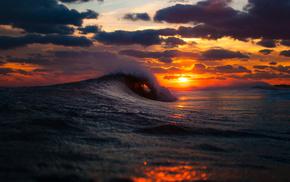 волны, красивые, небо, море, облака, океан