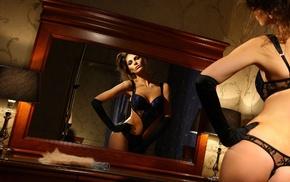 зеркало, девушка, белье, девушки