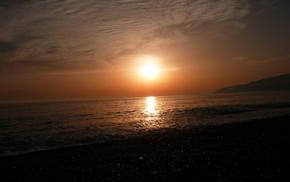 красивые, набережная, закат, море, пляж, горы