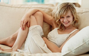 actress, white dress, barefoot, couch, Kirsten Dunst, smiling