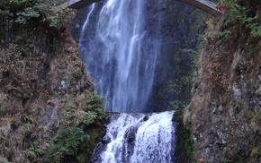waterfall, bridge, mountain, greenery, stunner