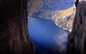 river, mountain, rocks, nature, height
