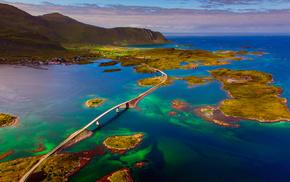 природа, архипелаг, Норвежское море, Норвегия, мост, Лофотенские острова