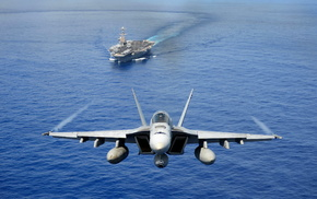 ocean, gun, ship, fly, jet fighter