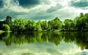 summer, lake, cloudy, nature, trees