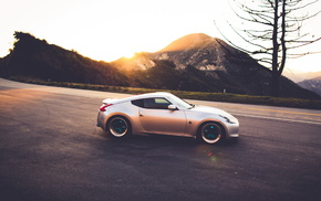 tuning, cars, mountain, sunset, sportcar