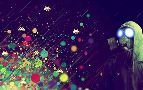 video games, gas masks, artwork, humor, Space Invaders
