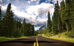 clouds, stunner, mountain, forest, road
