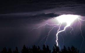nature, lightning, stunner, element, trees