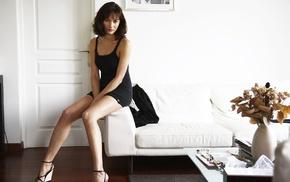 Olga Kurylenko, girl, black dress, model, brunette