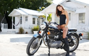 posing, bike, girls, girl, house