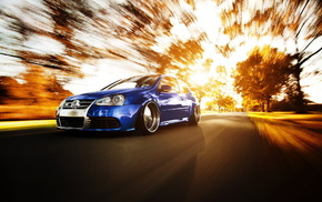 autumn, speed, sportcar, road, Volkswagen