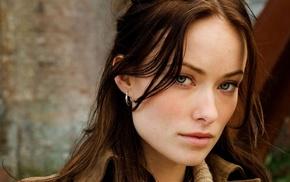 девушка, лицо, брюнетка, Оливия Уайлд, зеленые глаза